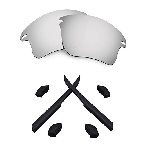 HKUCO For Oakley Fast Jacket XL Silver Polarized Replacement Lenses And Black Earsocks Rubber Kit