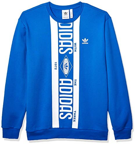 adidas Originals Men's Print Scarf Crew Sweatshirt, Blue, Medium