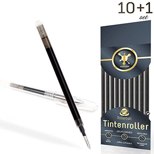Ersatzminen für radierbare Kugelschreiber - edles schwarz - kompatibel zu Pilot Frixion Tintenroller - sehr gut gefüllte Minen, Strichstärke 0,7 [10 Stück] + Bonus-Stift inkl. Radierer