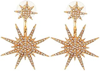 BESTPICKS Women's Shiny Gold Plated Rhinestone Star Pentacle Earrings Fine Jewelry Gift