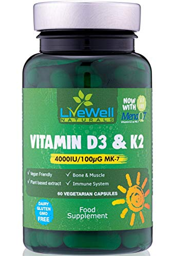 Vegan Vitamin D3 4,000 IU + Soy-Free Vitamin K2 100ug MK7 | Vegan High Strength Vitamin D with Vitamin K for Immune System Support | Pure Vitamin D from Natural Lichen | Gluten, Dairy & GMO Free