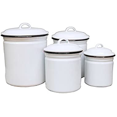 Enamelware 4 Piece Canister Set - Solid White with Black Rim
