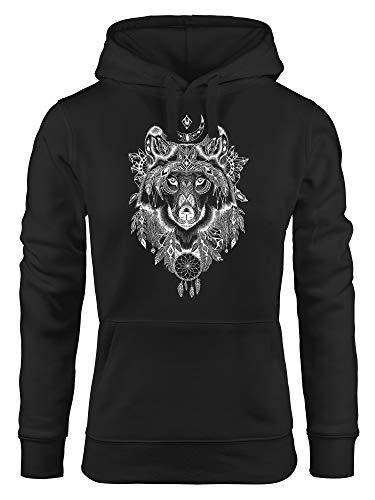 Neverless® Hoodie Damen Aufdruck Wolf-Motiv Print Boho Bohemian Ethno Kapuzen-Pullover schwarz M