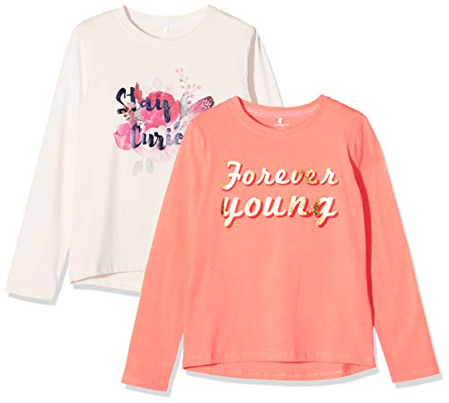 NAME IT Mädchen Nkfrolina Ls Top Camp 2P Sweatshirt, Rosa (Barely Pink Detail: Packed with Col. Sugar Coral), 122/128 (Herstellergröße: 122-128)