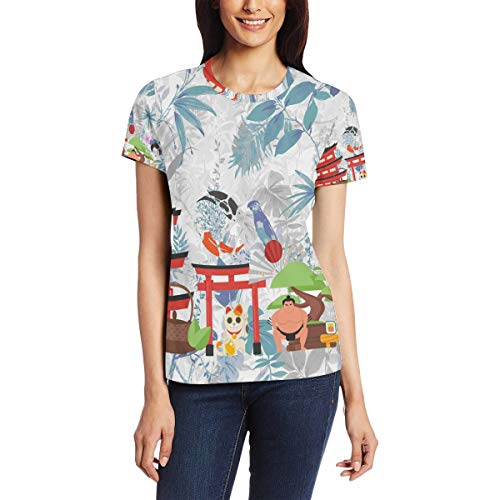 Japanse traditionele objecten vrouwen casual T-shirt korte mouw tuniek tops ronde hals blouse Comfy