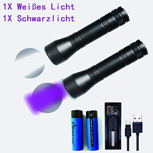 Wiederaufladbar UV Schwarzlicht Taschenlampe 500lm &Weißes Licht Taschenlampe 1200lm,UV Taschenlampe Haustiere Urin-Detektor Zoom,5 Modi, 395nm für eingetrocknete Flecken Ihrer Hunde, Katzen