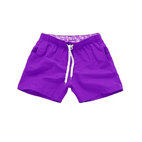 YUNDAN Men's Summer Casual Swim Trunks Solid Quick Dry Board Shorts Loose-fit Comfort Swimsuit Workout Beach Holiday Purple