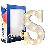 DON LETRA Letras del Alfabeto A-Z con Luces LED, Letras Luminosas Decorativas con Luces LED, 11 Bombillas de LED, 2 Pilas AA, Interruptor, Altura de 22cm, Color Blanco - Letra S