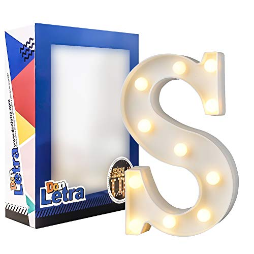 DON LETRA Letras del Alfabeto A-Z con Luces LED, Letras Luminosas Decorativas con Luces LED, 11 Bombillas de LED, 2 Pilas AA, Interruptor, Altura de 22cm, Color Blanco - Letra S