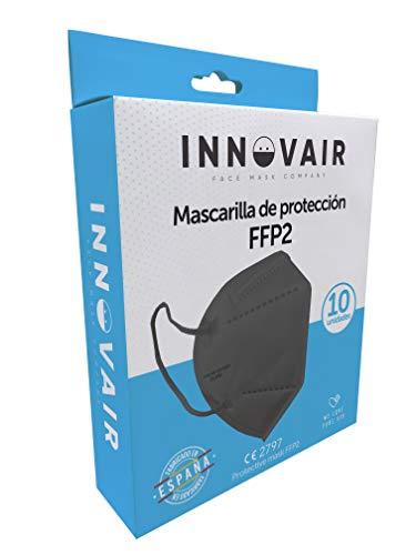 Mascarilla Protectora FFP2 NR AIRPROTECH - 10 Unidades - Fabricación 100% Española CE 2797-5 capas (10 ud Negro)