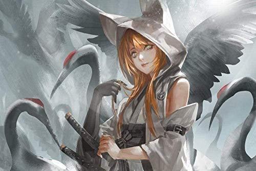 YYTTLL Rompecabezas, Anime Art Girl con Grúas Adultos Imagen De Rompecabezas De Madera, para Ni?as Sala De Estar Decoración De La Pared del Hogar Mural 1000 Piezas