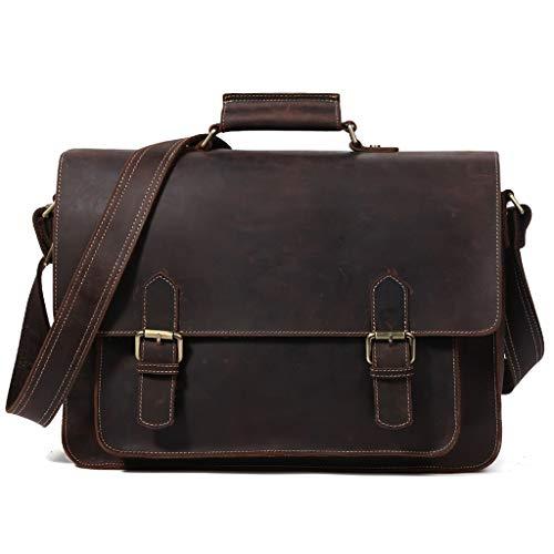 WUZHENG Männer Cowhide Leder große 15,6 Zoll Laptop Briefkasten Messenger Bag Tote,Brown