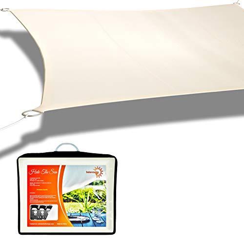 Solennoire, Vela De Sombra | Toldo Suspendido Impermeable | Lona 100% Poliéster | Sombreado 98% - Protección UV 99% | Cuerdas de Fijación & Anillos de Acero Inoxidable | Color Beige (~4x6m, Beige)