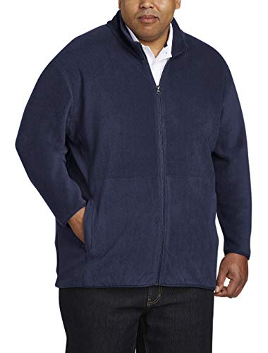 Amazon Essentials Men's Big and Tall Full-Zip Polar Fleece Jacket fit by DXL, Navy, 2X