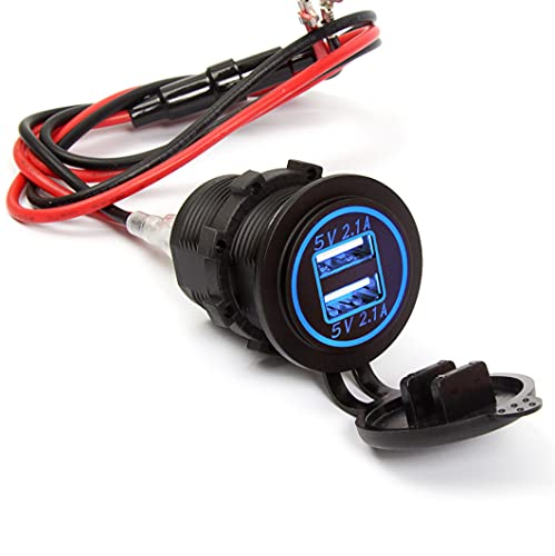 Ginsco Dual USB Charger Socket Power Outlet 2.1A & 2.1A(4.2A) for Car Boat Marine RV Mobile with Wire Fuse DIY Kit Blue LED