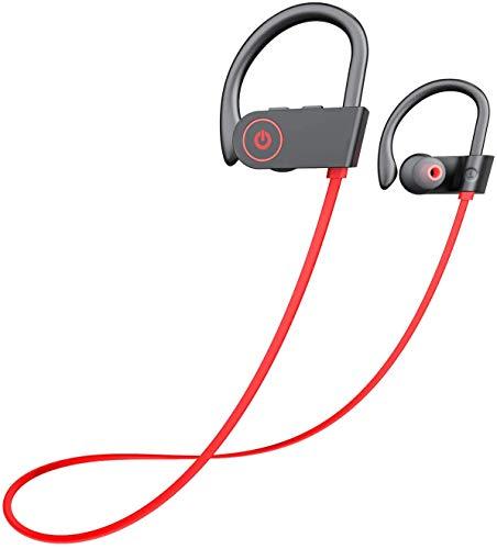 QueenDer Auriculares Bluetooth Inalámbricos In-Ear con Micrófono Caja de Carga Portátil para iPhone Sumsang Smartphones (Rojo)
