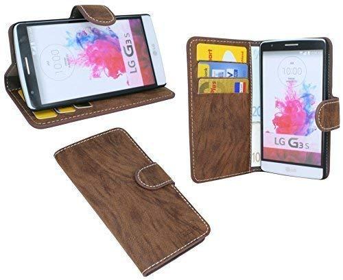 ENERGMiX Buchtasche kompatibel mit LG G3 S D722 Hülle Case Tasche Wallet BookStyle mit Standfunktion in Braun