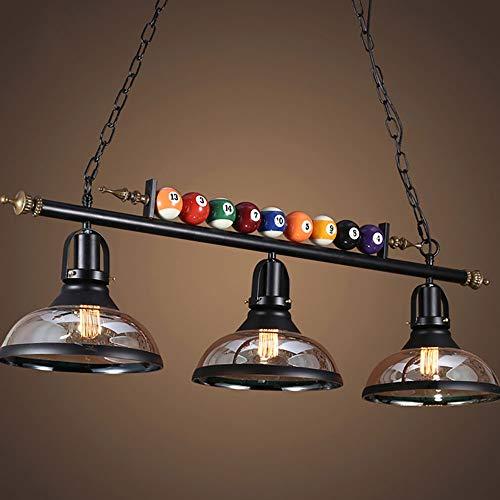 Farm Loft - Lámpara de techo, estilo antiguo, hierro forjado, con personalidad, 100 cm, ajustable, lámpara de billar, café, restaurante, bar, lámpara colgante (tres cabezales con LED E27)