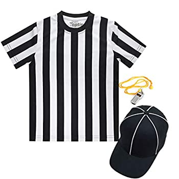 TOPTIE Children s Referee Shirt Set Sports Football Shirt Umpire Hat Metal Ref Whistle with Lanyard-S