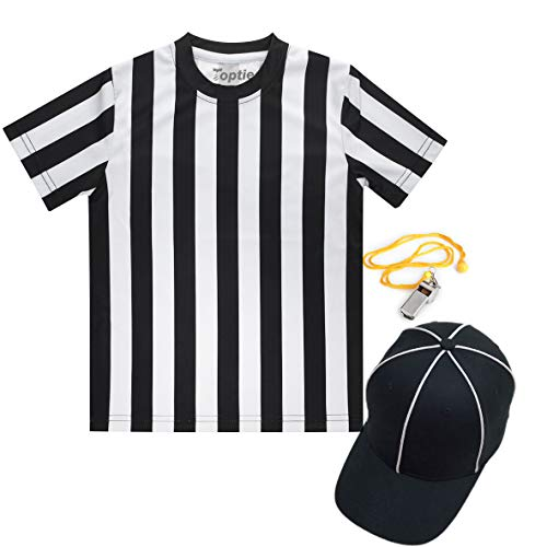 TOPTIE Children's Referee Shirt Set, Sports Football Shirt, Umpire Hat, Metal Ref Whistle with Lanyard-M