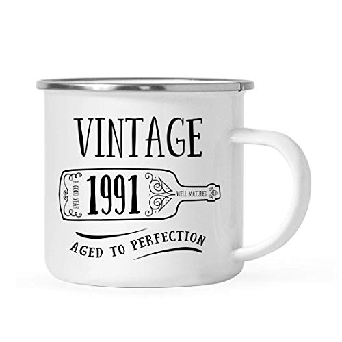 10 onzas. Birthday Milestone - Taza de café de acero inoxidable para fogata, regalo, vintage 1991, gráfico de botella de vino, paquete de 1, taza de camping esmaltada, 28, 29, 30 ideas de regalo de cu