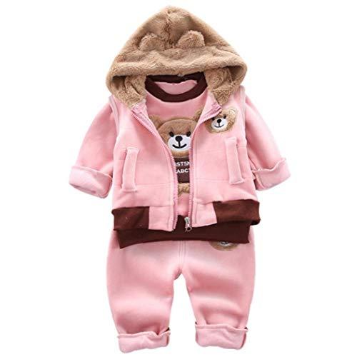 Niño del Invierno Ropa de bebé Top de Manga Larga con Capucha Chaleco Pantalones de Felpa Gruesa de 110 cm Infantil Rosa 3pcs