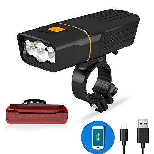Spritech USB Rechargeable Bike Light Set,1000 Lumens 3 LED Bicycle Front Light with Power Bank Function and Back Rear Light, IPX5 Waterproof Road/Mountain/City Cycling Commuter Flashlight