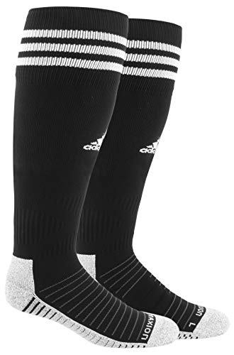 adidas Unisex Copa Zone Cushion IV Soccer Socks (1-Pair), Black/White, 5-8.5