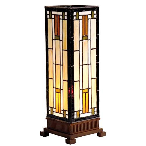 Lumilamp 5LL-9332 Tischleuchte Tischlampe Tiffany Stil 12.5 * 35 cm 1x E14 max 25w dekoratives buntglas handgefertigt glasschirm