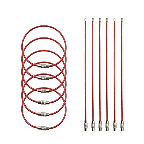 Key Ring 6.8' Stainless Steel Wire Twist Lock Heavy Duty Car Keychains,2mm ID Tag Keepers Cable,Luggage Tag Loops(Red-12-ring)