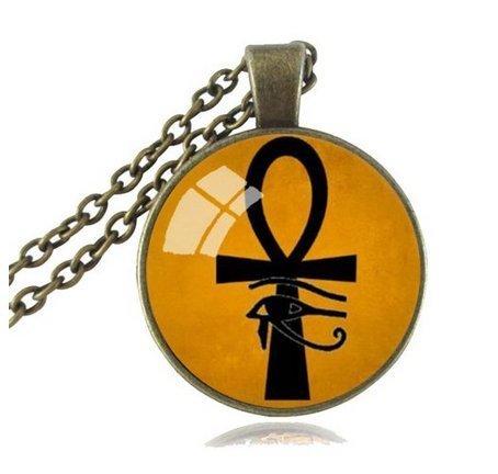 Collar con colgante de cruz de la vida de Ancient Eye of Horus Ra Ankh