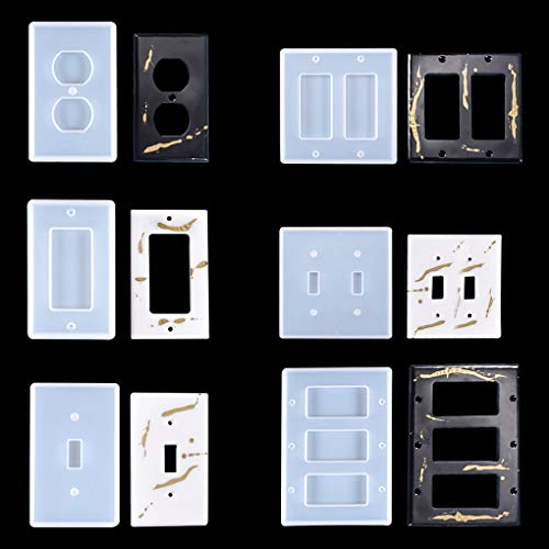 FineInno 6Pcs Switched Power Socket Resin Molds,Plate Wall Outlet Silicone Moulds for Resin,Light Switch Cover Mould for Epoxy Resin Home Decoration (Light Switch Cover Molds)