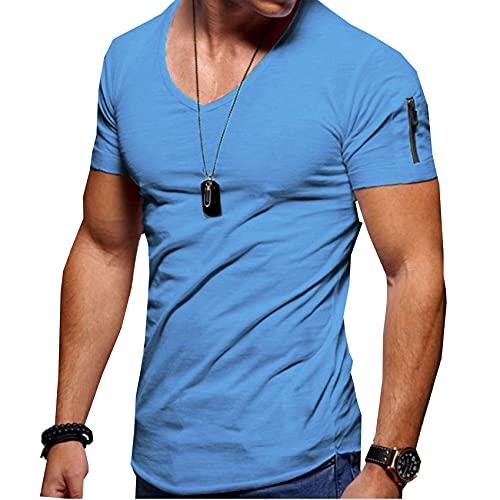 Camiseta con Cuello En V para Hombre, Camiseta Deportiva De Verano para Fitness, Camiseta Informal De Manga Corta con Cremallera De Calle Alta, Camiseta Superior De Talla Grande 5XL