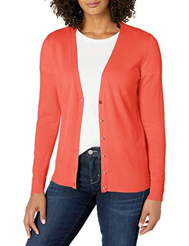 Amazon Essentials Lightweight Vee Cardigan Sweaters, Corallo, M