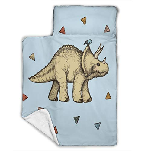 Triceratops Patterned Light and Soft Baby Sleeping Mat, Ideal for Preschool Children, Day Care, Boys and Girls Travel Bags, Designed to Fit Standard Baby Cots