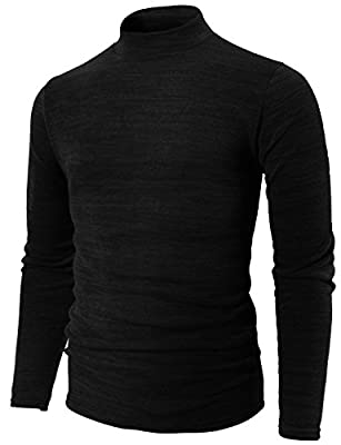 H2H Mens Casual Slim Fit Half-Neck Lightweight Soft Sweater Black US M/Asia XL (KMTTL0412) from