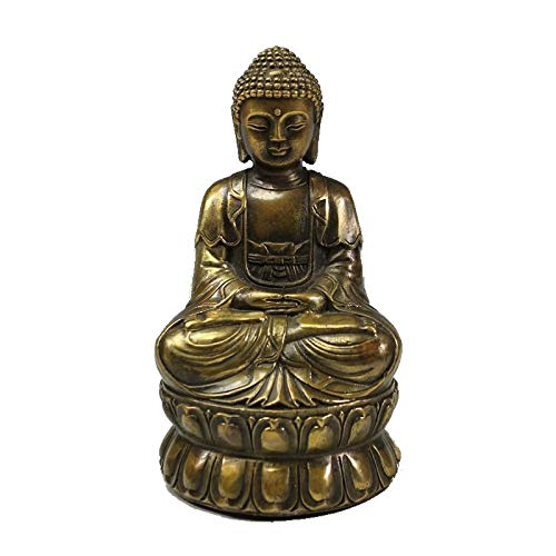 MKYXLN Vintage Brass Meditating Buddha Statue Retro Figure Sculpture Home Office Desk Decorative Ornament Gift