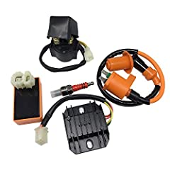 Hity Motor Brand Fit most models of Chinese Scooters, ATVs, Go-Karts Mopeds with GY6 50cc, 125cc, and 150cc 139QMB, 152QMI and 157QMJ based engines Package Includes:1x Racing Ignition Coil AC CDI Spark Plug Regulator Rectifier Relay Kit. Please take ...