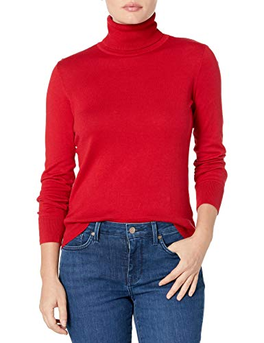 Chaps Women's Petite Long Sleeve Turtle Neck Cotton-Sweater, Rich red, PM