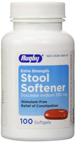 Stool Softener Docusate Sodium 250 Mg 100 Caps (3 Pack) by Rugby