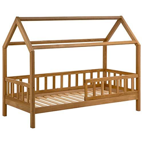 Hausbett 90x200 cm für Kinder - Kinderbett aus Eiche mit Rausfallschutz für mehr Sicherheit | Jugendbett Haus im skandinavischen Stil inkl. Lattenrost | Bett aus Massiv Holz für Jungen & Mädchen