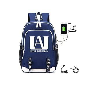41QNJ+ U3YL. SS300  - Mochila My Hero Academia 36L-55L Luminosa Niños Niñas 36~55L con USB Mochilas para Portátiles y Netbooks (Azul)