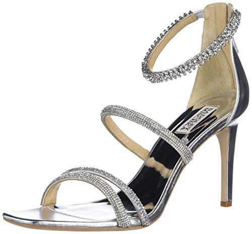 Badgley Mischka Women's Back Zip, Heeled Sandal, Silver Leather, 6