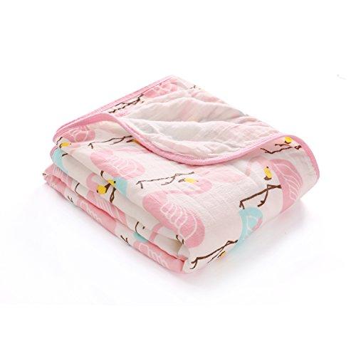 Musselin Decke Babydecke Kuscheldecke Kinderwagendecke Einschlagdecke Pucktücher Baby Sommer 120x150CM Federn Stoff Flamingo 2-Lagig
