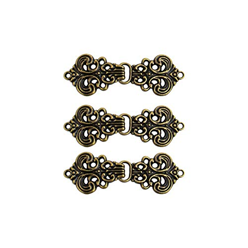 AUEAR, Swirl Flower Cape or Cloak Clasp Fasteners Vintage Pattern Sew On Hooks and Eyes Cardigan Clip (6 Pairs, Antique Brass)