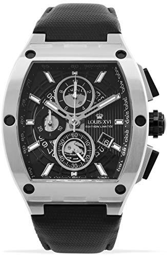 LOUIS XVI Herren-Armbanduhr Noblesse Silber Schwarz Tonneau Chronograph Analog Quarz Edelstahl 1021