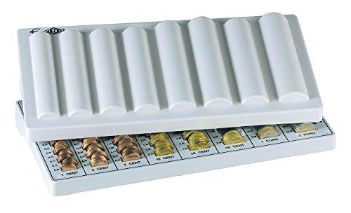 Wedo 160500937 Geld-Zählbrett Eco (aus Polystyrol, mit 8 Münzrillen, Abdeckung und Griffmulden, rutschfeste Gummifüße, 33 x 18 x 4,5 cm) lichtgrau