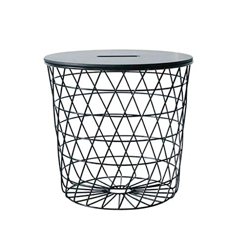 Side End Table Round Wrought Iron Grid Small Coffee Table Living Room Sofa Side Table with Storage Basket (black and White) Couch Table (Color : Black)