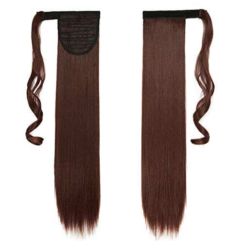 Extensión para la pinza de pelo de cola falsa en la envoltura de cola de caballo de tupé de pelo alrededor de 58 cm rojo vibrante