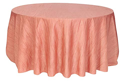 Your Chair Covers - 120 inch Round Crinkle Taffeta Tablecloths Coral, Round Table Linens for 5 ft Round Banquet Tables